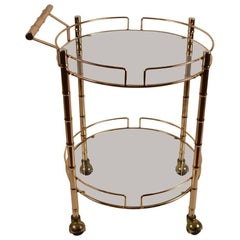 Brass Faux Bamboo Serving Cart