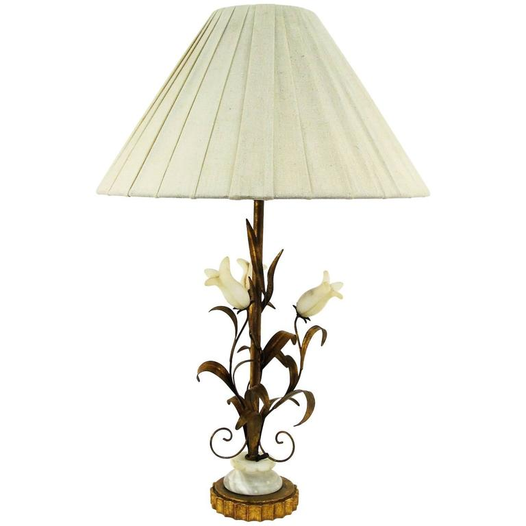 Lovely Italian 1950s Alabaster and Gilt Metal Botanical Style Lamp 1