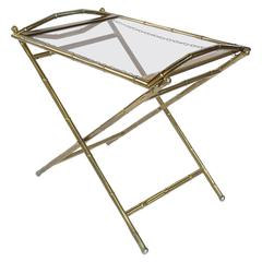 French Tray Table of Brass and Smoked Glass