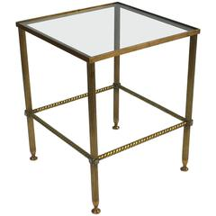 French Square Low Table of Brass and Glass