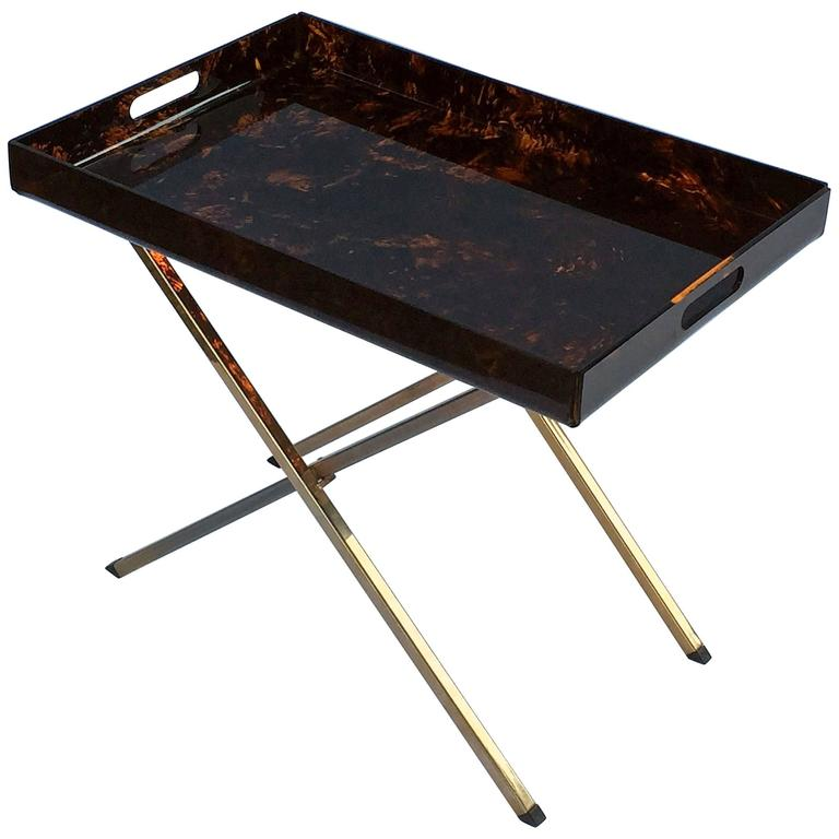 English Tray Table of Faux Tortoise