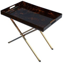 Italian Serving Tray or Drinks Table of Faux Tortoise
