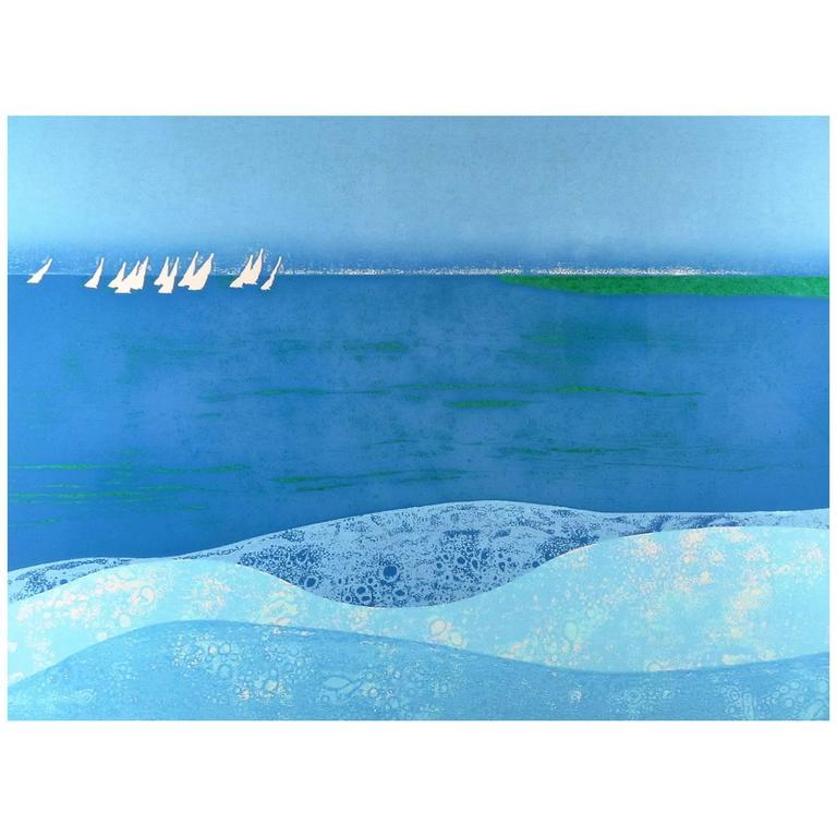 """Sunday Sail"" Signed and Numbered Print by Hawaiian Artist Louis Pohl 1"