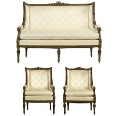 19th Century French Louis XVI Style Green Suite of Antique Settee and Two Chairs