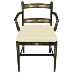 1940s Ebonized Regency Armchair with Hand-Painted Decoration