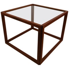 Rationalist Danish Modern Cube Table with Smoked Glass Top