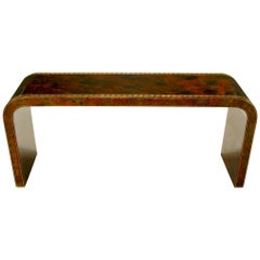 Signed Artisan-Painted Waterfall Console Table with Greek Key Design