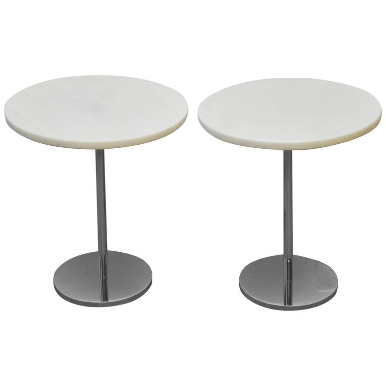 Pair of White Marble and Stainless Steel Side Tables by Gerald R. Griffith