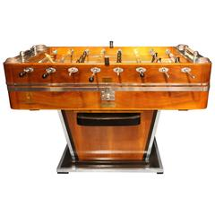 1920s Walnut and Aluminum Foosball Table