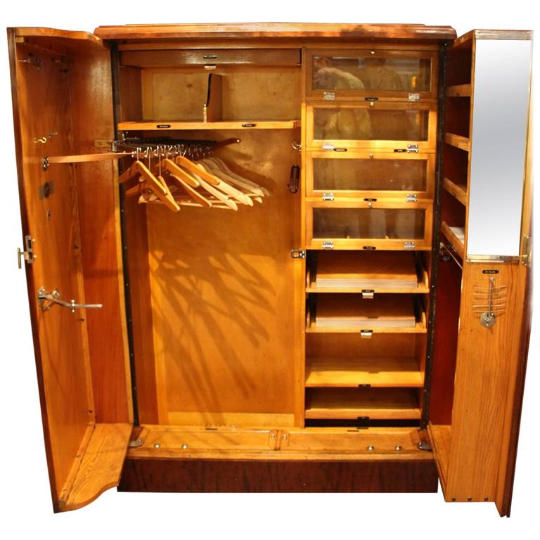 1930s Mahogany All Fitted Closet, Compactom Steamer Trunk For Sale