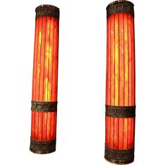 Pair of Tall Red Glass Sconces in Tiffany Studios Style