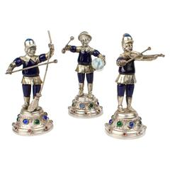 Three 19th Century Jeweled & Enameled German Coin Silver Musician Figurines