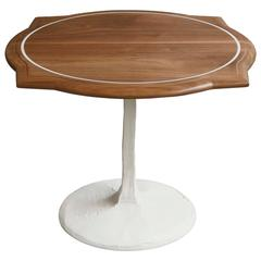 Caption Side Table in Walnut with Inlaid Resin and White Concrete Pedestal Base