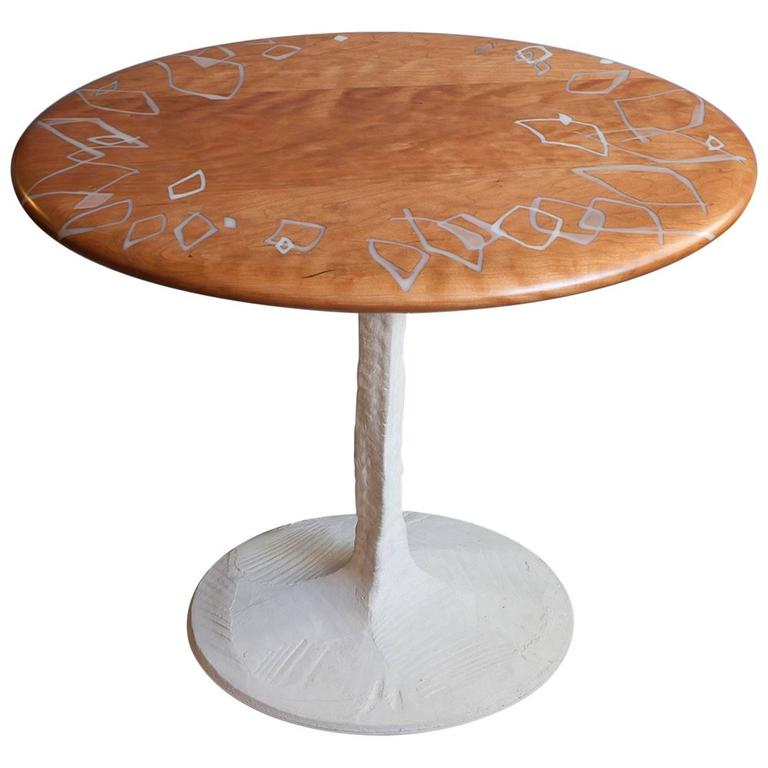 Sky with Diamonds Side Table, Cherry with Inlaid Resin & Concrete Pedestal Base For Sale