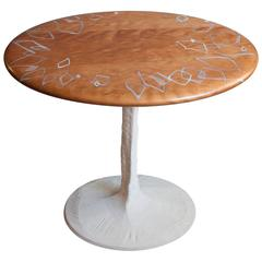 Sky with Diamonds Side Table, Cherry with Inlaid Resin & Concrete Pedestal Base
