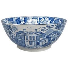 19th Century English Staffordshire Medium Blue Transfer Punch Bowl