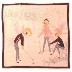 Adorable Artful 1950s Silk Scarf of Fashionable Ladies Playing Golf
