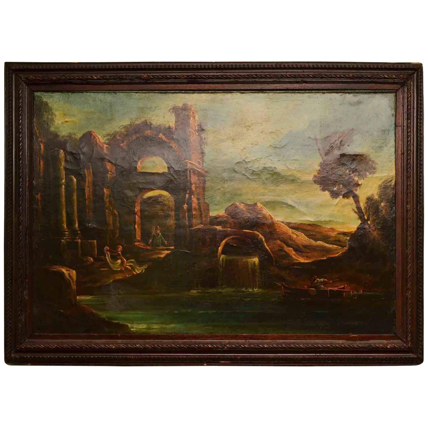 Antique Oil Painting Landscape Ruins 19th C