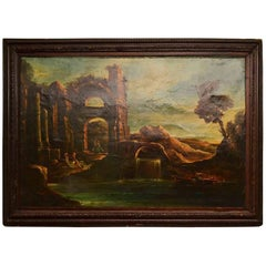 Antique Oil Painting Landscape Ruins 19th C