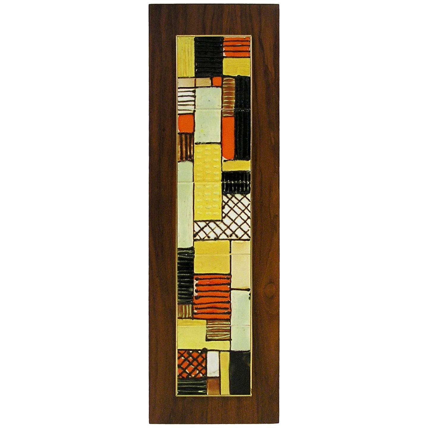 Mid Century Modern Ceramic Tile Art Wall Plaque by Harris Strong