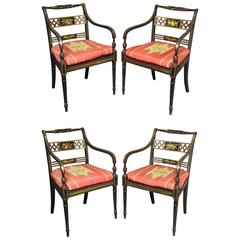 Set of Four Regency Japanned and Parcel-Gilt Armchairs