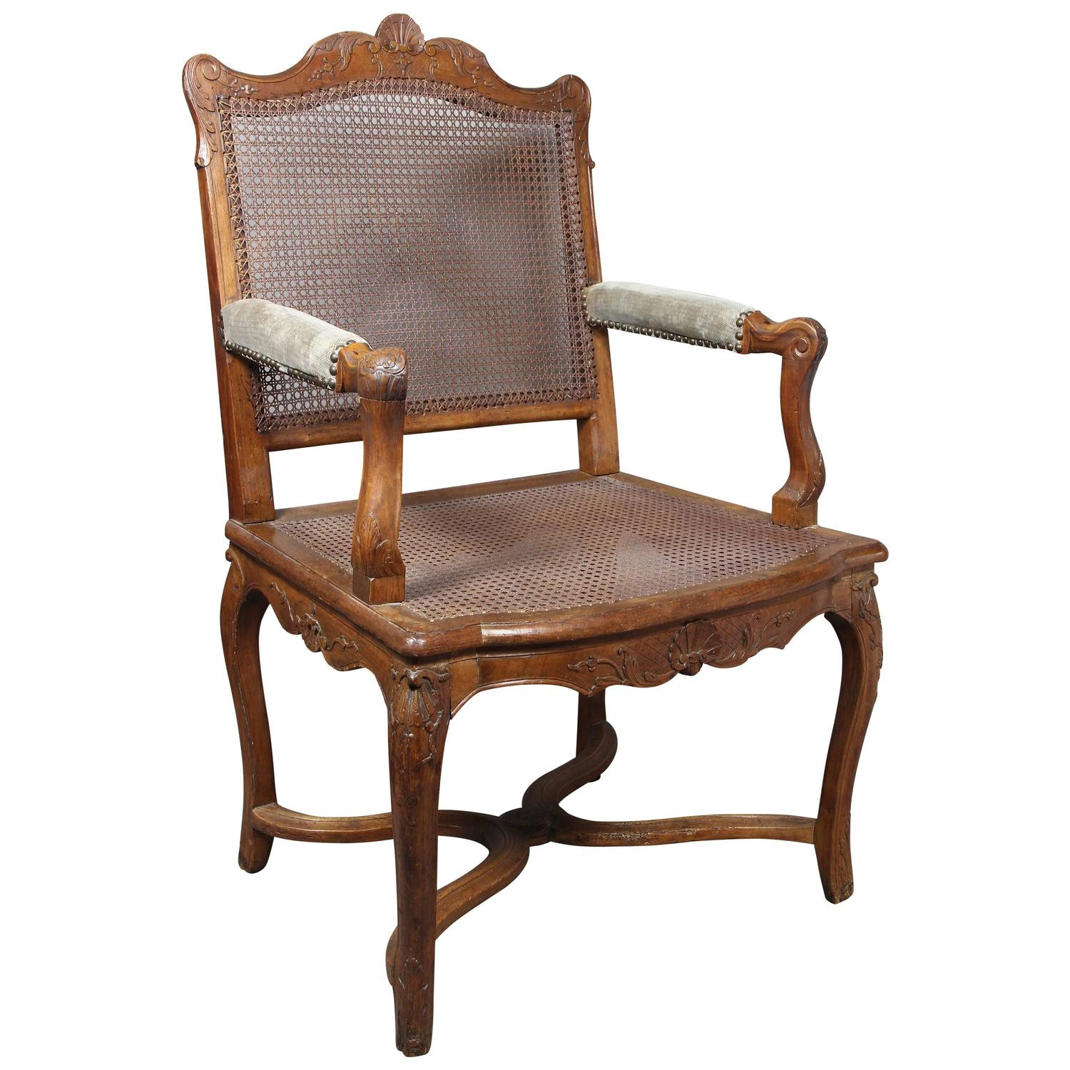 regence walnut and caned fauteuil armchair for sale at. Black Bedroom Furniture Sets. Home Design Ideas