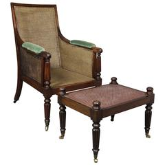 Regency Mahogany Bergere and Ottoman