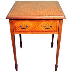 Antique Late Victorian Satinwood Occasional Table 19th C