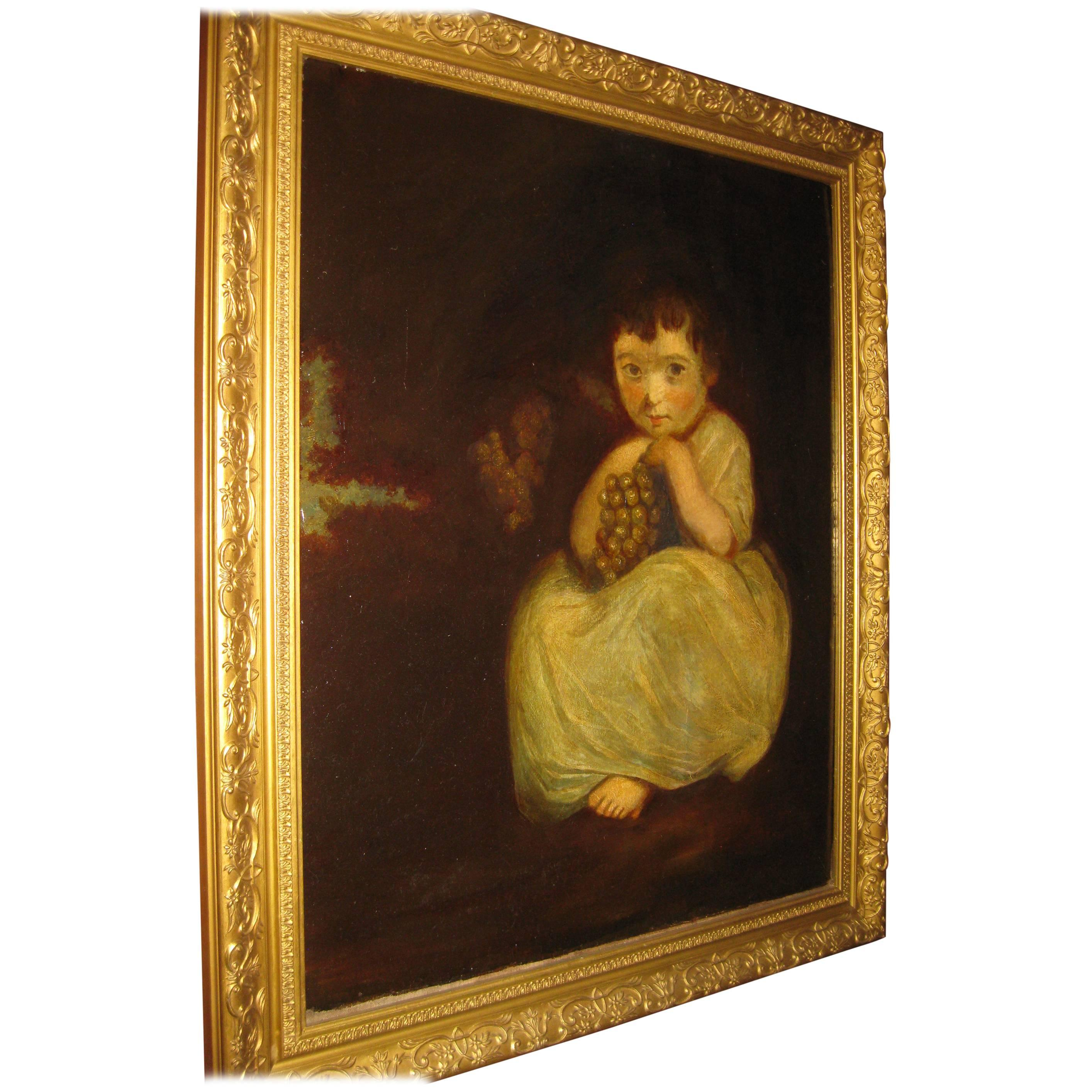 19th century Oil Painting Little Girl with Grapes