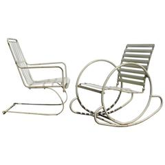 American Art Deco Streamlined Steel Chairs