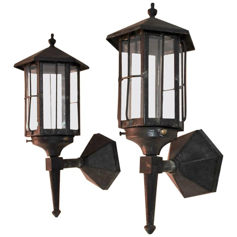Very Nice Small Pair of 1920 Wrought Iron Outdoor Sconces at 1stdibs
