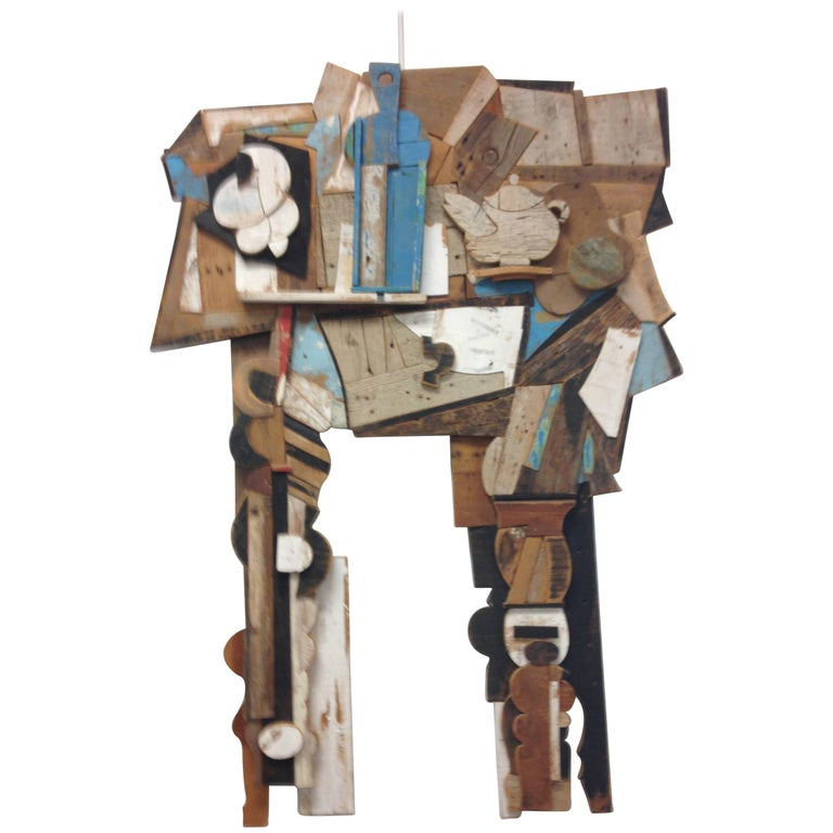 Abstract Wood Collage by Felice Antonio Botta, Italy, 20th Century For Sale