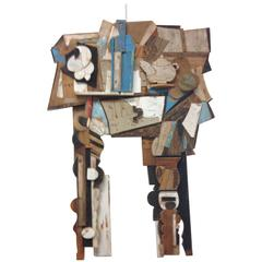 Abstract Wood Collage by Felice Antonio Botta, Italy, 20th Century