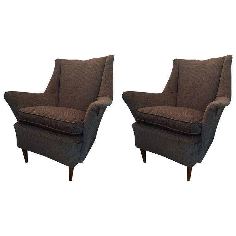 Pair of Vintage Armchairs in Gio Ponti Style 1