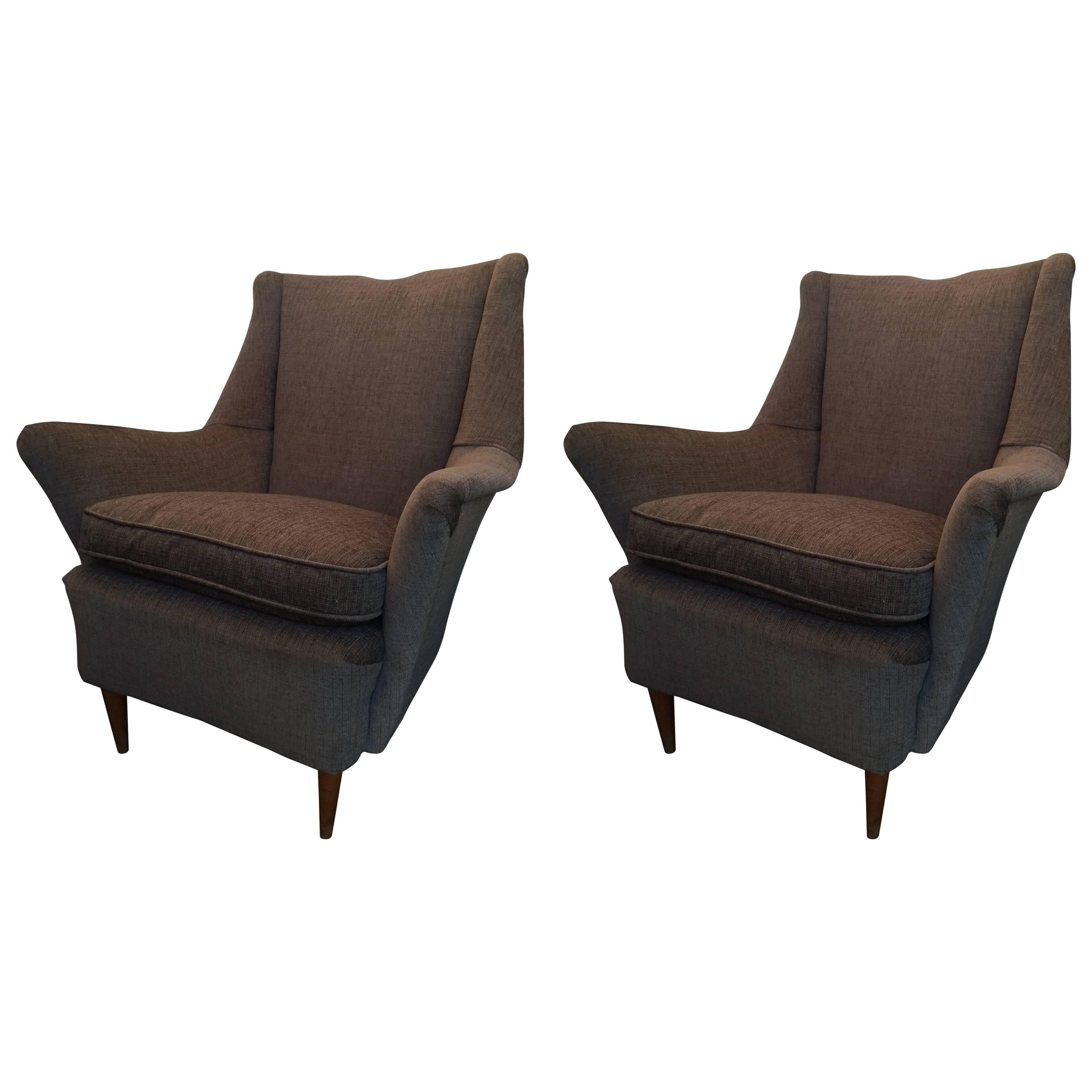 Pair of Vintage Armchairs in Gio Ponti Style