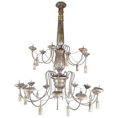 Very Large Silver Leafed Carved Wood French Eighteen-Light Chandelier