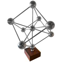 Atomium Architectural Sculpture in Steel on California Black Walnut Base