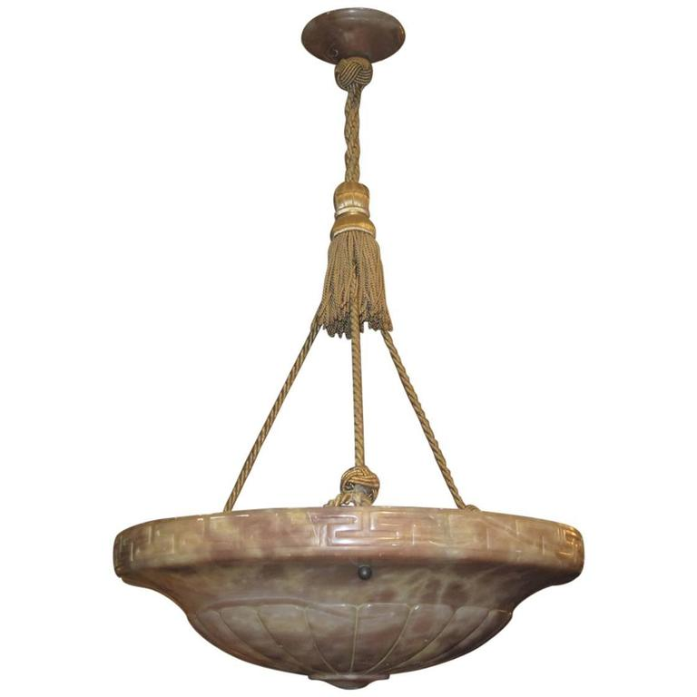 1920s alabaster greek key carved bowl form light fixture for sale at