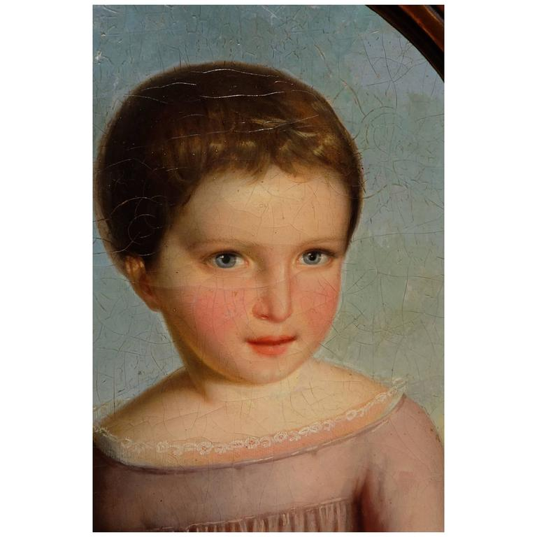 Oil Paint Portrait of a Young Girl For Sale
