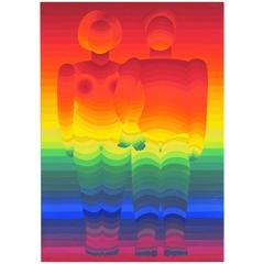 Rainbow Couple Screen Print by Japanese Artist Ay-O, 1967