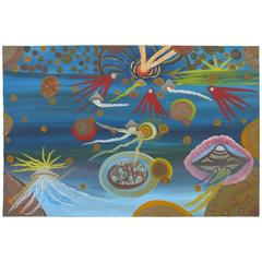 "Ionel Talpazan Painting ""Six UFOs in the Universe"""
