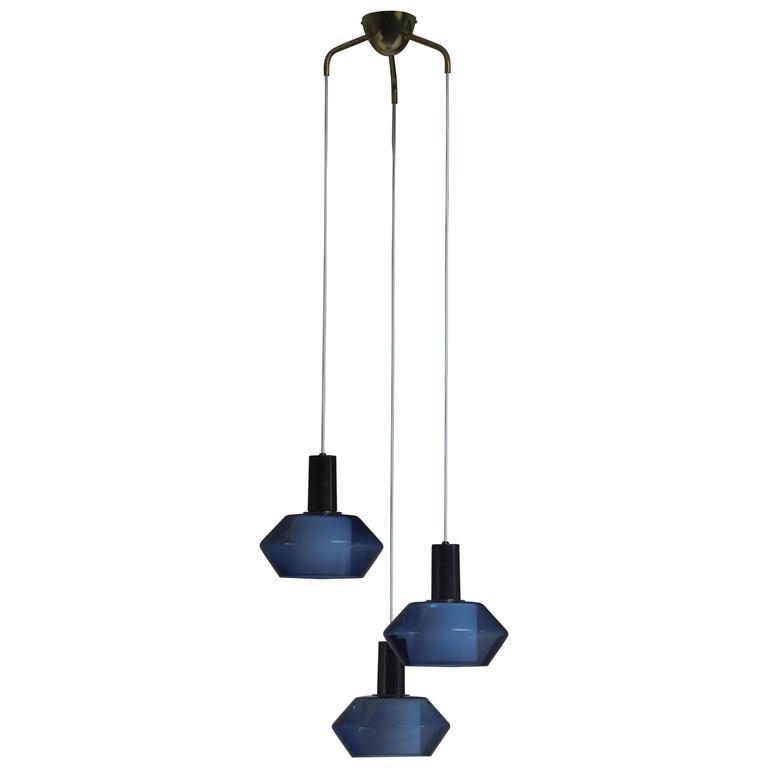 Blue K2-140 Pendants by Tapio Wirkkala for Iittala, Finland, Large Quantity For Sale