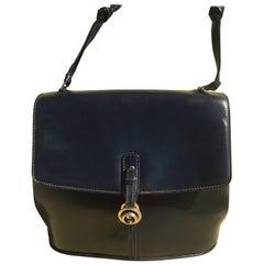 Dark Blue Gucci Double Shoulder Strap Bag