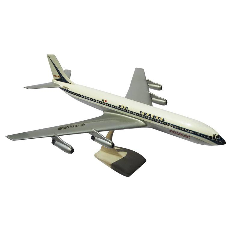 Air France Painted Metal Boeing 707 Desk Model 1