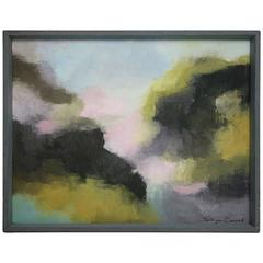 "Framed Pastel Abstract Signed ""Kathryn Conrad 1968"""