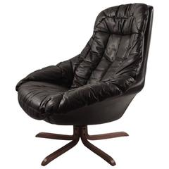 Leather Swivel Chair Attributed to Westnofa