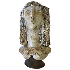 Brutalist Women's Head Ceramic Sculpture by Carl Malouf