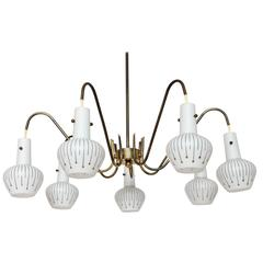Italian Seven Arms Brass and Glass Chandelier in the Style of Stilnovo, 1950s