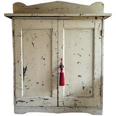 Antique Hall Bathroom Cupboard Pine Distressed Victorian, 19th Century