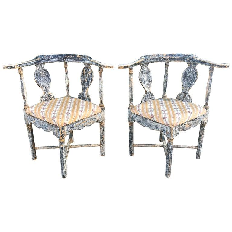 Pair of Swedish Gustavian Corner Armchairs For Sale